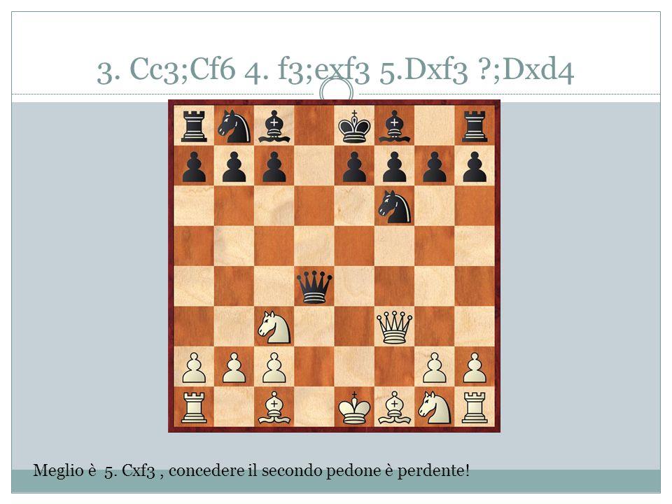 3. Cc3;Cf6 4. f3;exf3 5.Dxf3 ?;Dxd4 Meglio è 5. Cxf3, concedere il secondo pedone è perdente!