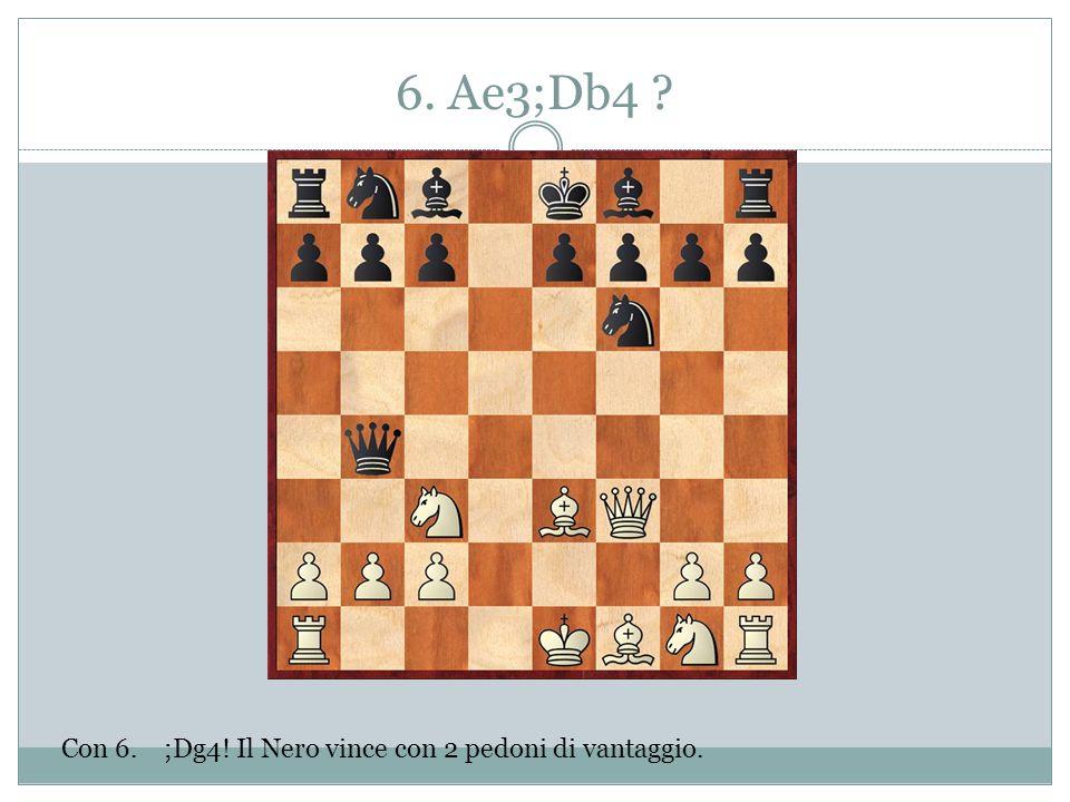 6. Ae3;Db4 ? Con 6. ;Dg4! Il Nero vince con 2 pedoni di vantaggio.