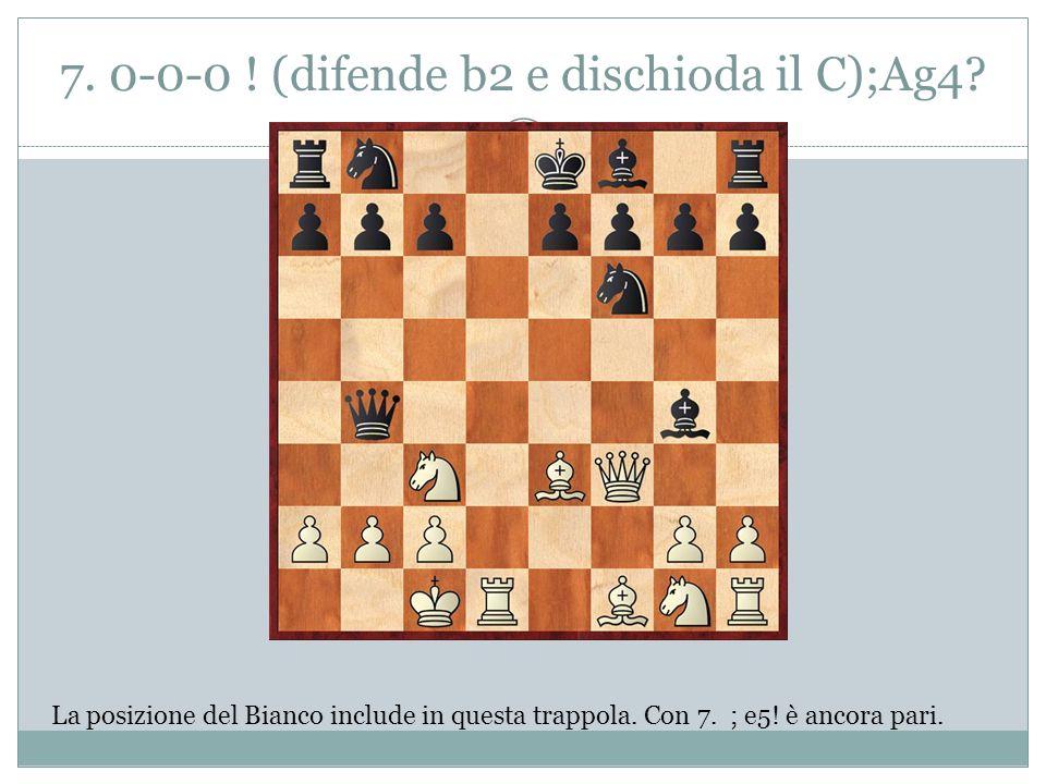 7. 0-0-0 ! (difende b2 e dischioda il C);Ag4? La posizione del Bianco include in questa trappola. Con 7. ; e5! è ancora pari.