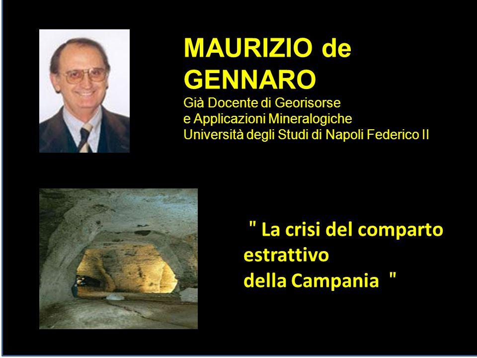 MAURIZIO de GENNARO Già Docente di Georisorse e Applicazioni Mineralogiche Università degli Studi di Napoli Federico II ʺ La crisi del comparto estrat