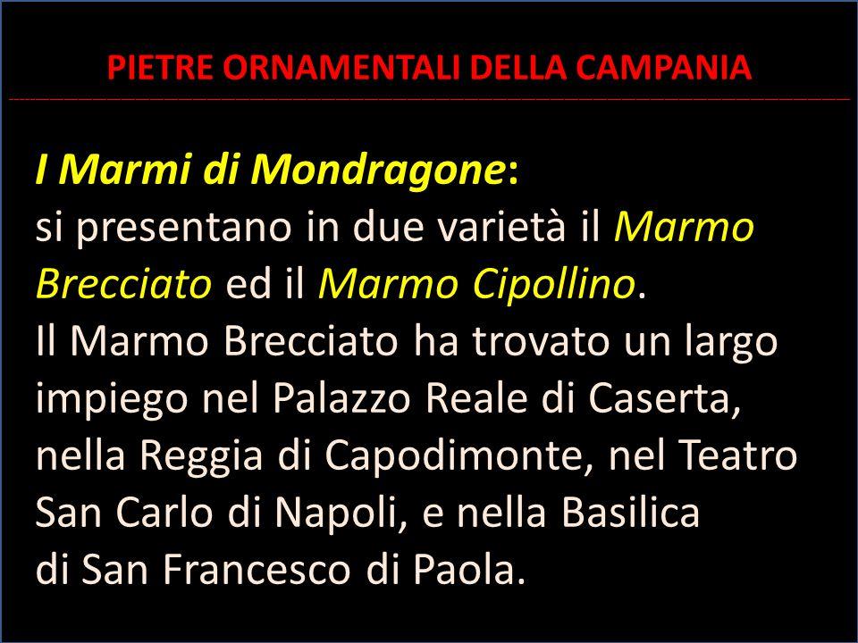 I Marmi di Mondragone: si presentano in due varietà il Marmo Brecciato ed il Marmo Cipollino. Il Marmo Brecciato ha trovato un largo impiego nel Palaz
