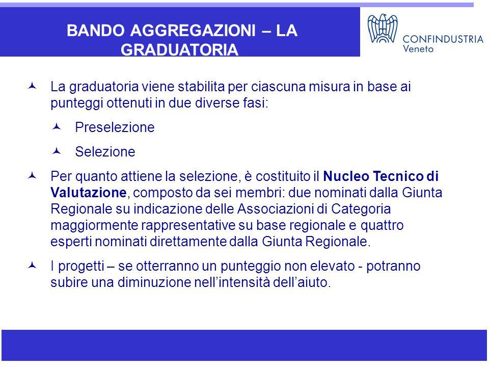 BANDO AGGREGAZIONI – LA GRADUATORIA La graduatoria viene stabilita per ciascuna misura in base ai punteggi ottenuti in due diverse fasi: Preselezione