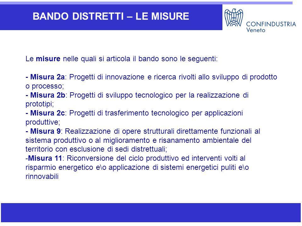 Ambiti di attività di SIAV BANDO DISTRETTI – LE MISURE Le misure nelle quali si articola il bando sono le seguenti: - Misura 2a: Progetti di innovazio