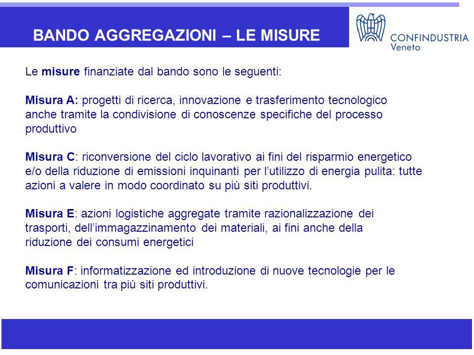 BANDO AGGREGAZIONI – LE MISURE Le misure finanziate dal bando sono le seguenti: Misura A: progetti di ricerca, innovazione e trasferimento tecnologico
