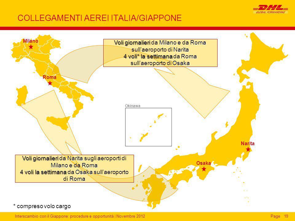 Interscambio con il Giappone: procedure e opportunità | Novembre 2012Page COLLEGAMENTI AEREI ITALIA/GIAPPONE 19 Narita Okinawa Voli giornalieri Milano