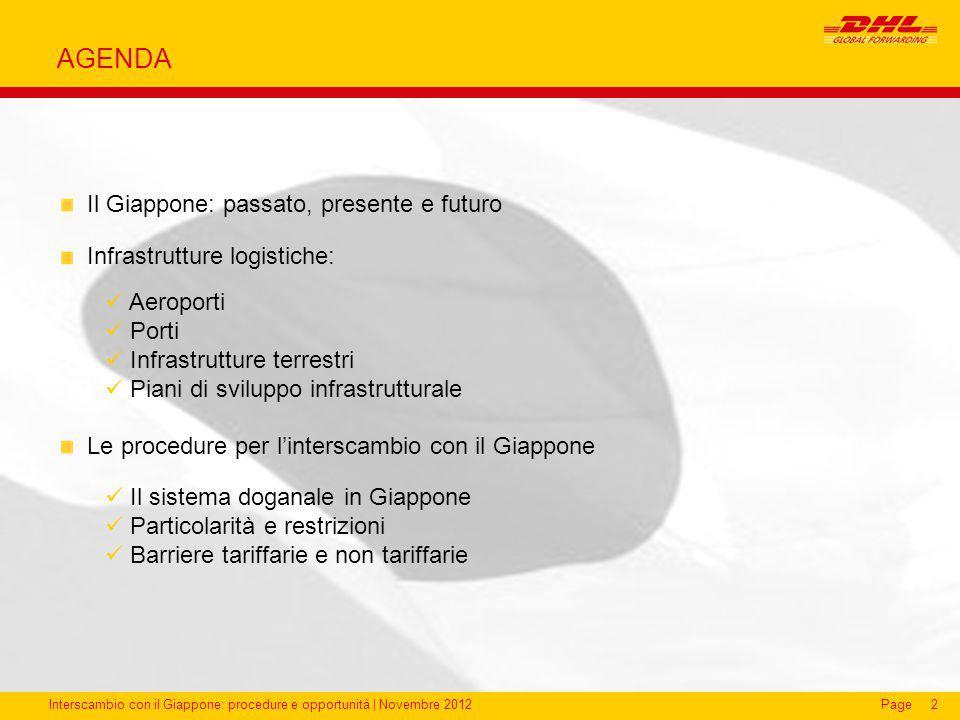 Interscambio con il Giappone: procedure e opportunità | Novembre 2012Page AGENDA 2 Il Giappone: passato, presente e futuro Infrastrutture logistiche: