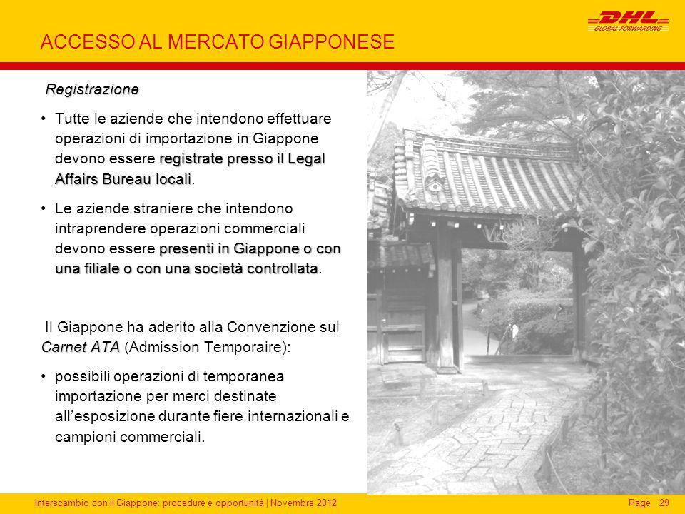 Interscambio con il Giappone: procedure e opportunità | Novembre 2012Page ACCESSO AL MERCATO GIAPPONESE Registrazione Registrazione registrate presso