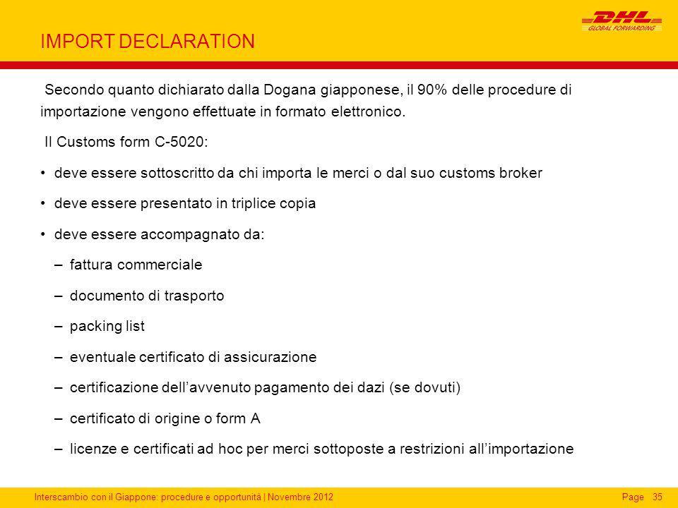 Interscambio con il Giappone: procedure e opportunità | Novembre 2012Page IMPORT DECLARATION Secondo quanto dichiarato dalla Dogana giapponese, il 90%