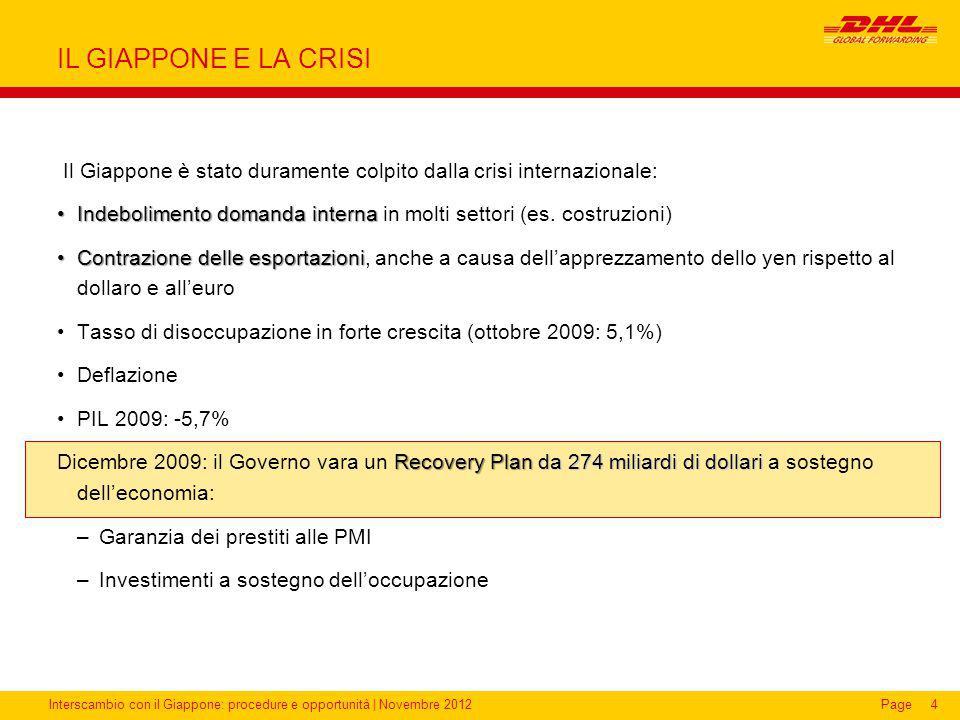 Interscambio con il Giappone: procedure e opportunità | Novembre 2012Page IL GIAPPONE E LA CRISI Il Giappone è stato duramente colpito dalla crisi int