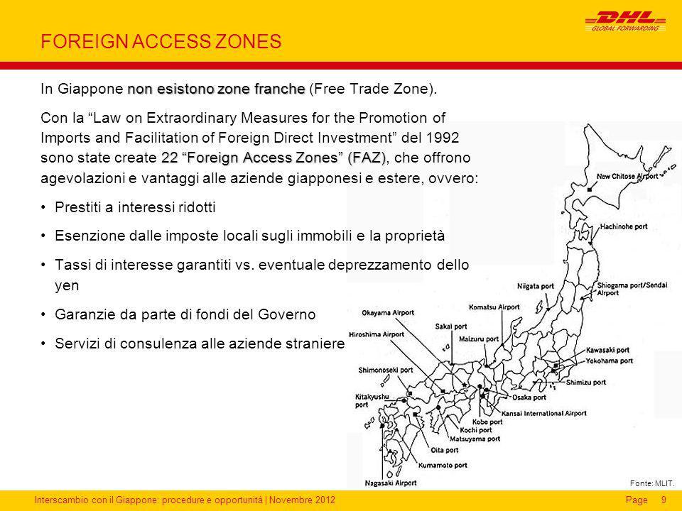 Interscambio con il Giappone: procedure e opportunità | Novembre 2012Page FOREIGN ACCESS ZONES non esistono zone franche In Giappone non esistono zone