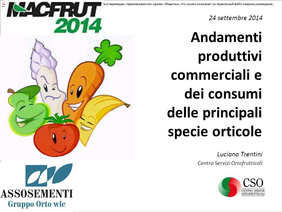 Andamenti produttivi commerciali e dei consumi delle principali specie orticole 24 settembre 2014 Luciano Trentini Centro Servizi Ortofrutticoli