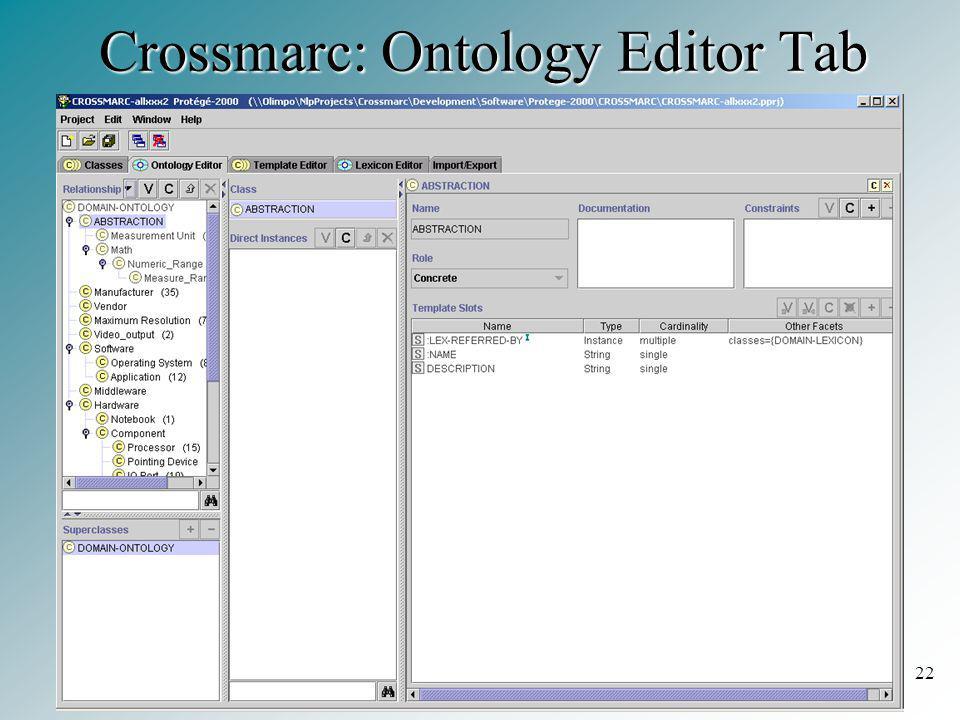 22 Crossmarc: Ontology Editor Tab