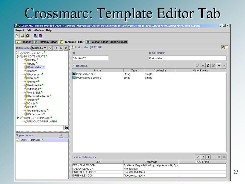 23 Crossmarc: Template Editor Tab