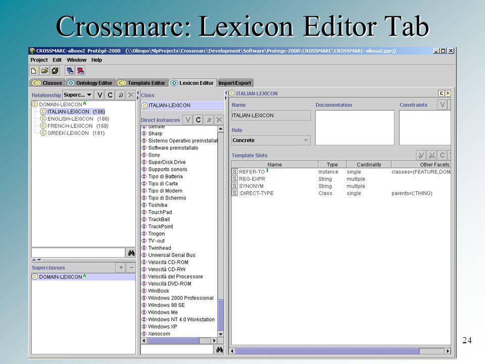 24 Crossmarc: Lexicon Editor Tab