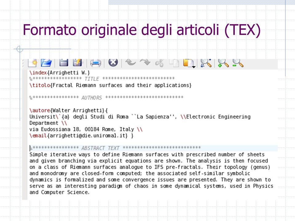 Formato originale degli articoli (TEX)