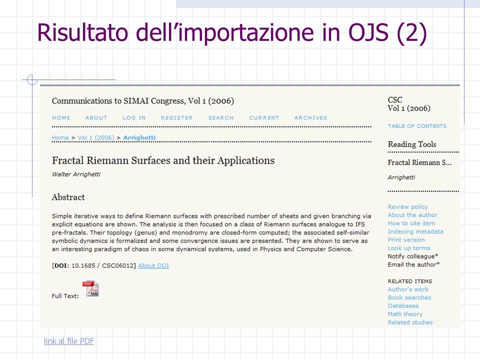 Risultato dell'importazione in OJS (2) link al file PDF