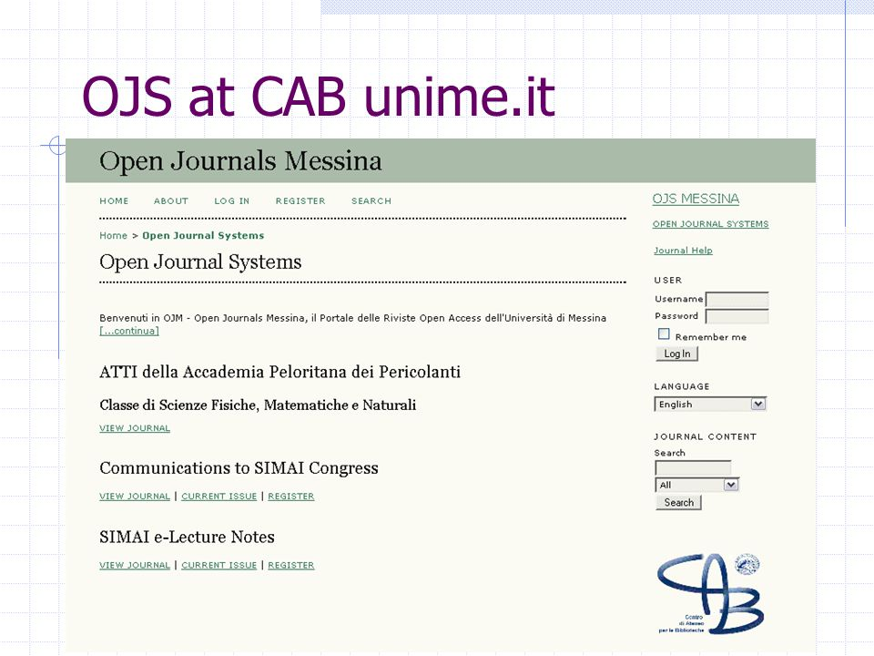 OJS at CAB unime.it