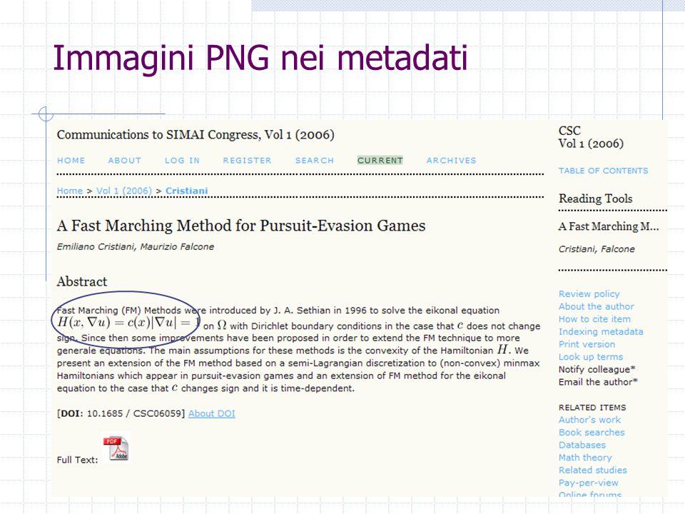 Immagini PNG nei metadati