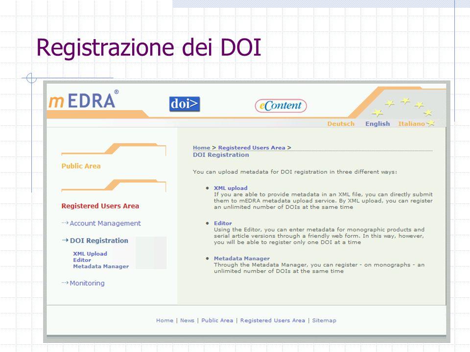 Registrazione dei DOI