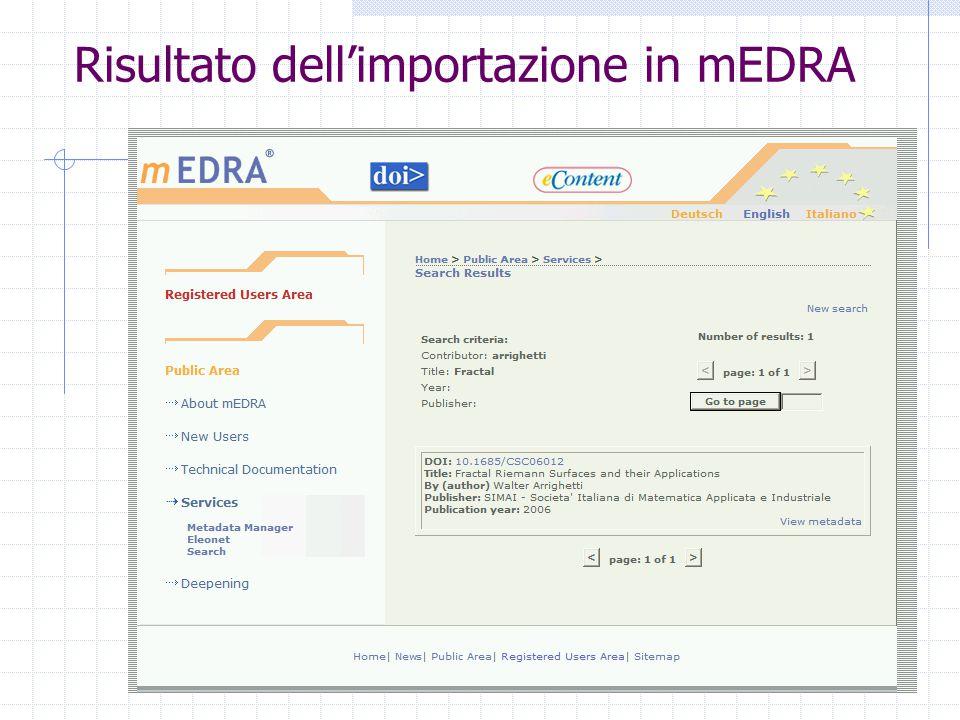 Risultato dell'importazione in mEDRA