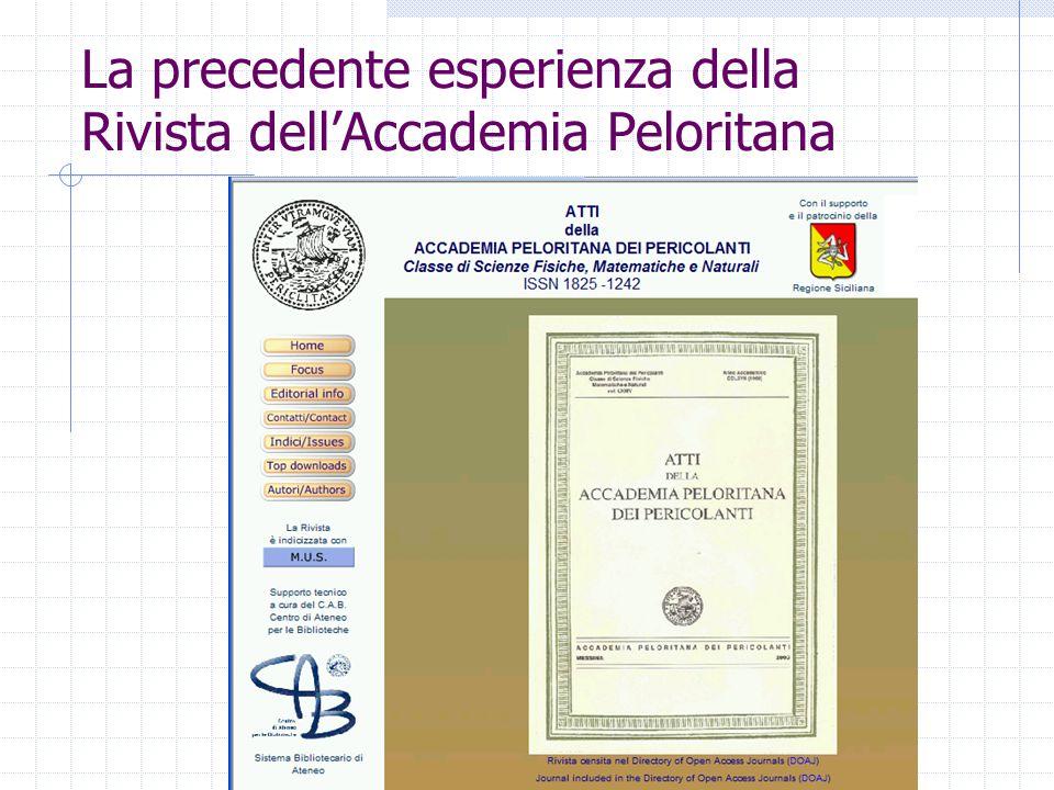 La precedente esperienza della Rivista dell'Accademia Peloritana