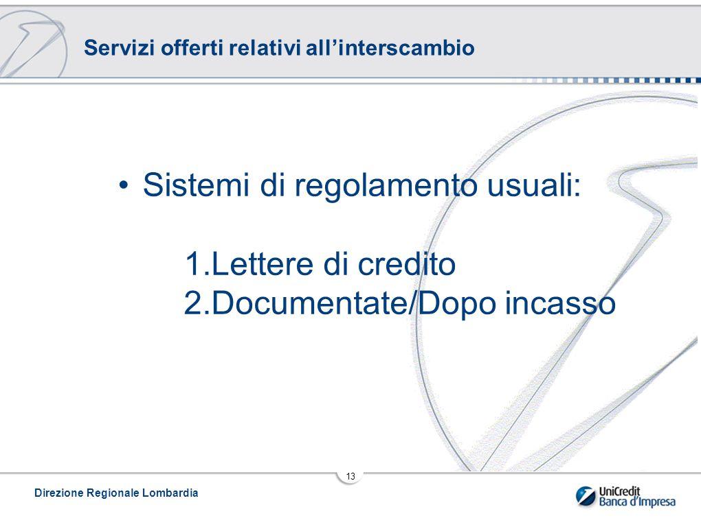 Direzione Regionale Lombardia 13 Servizi offerti relativi all'interscambio Sistemi di regolamento usuali: 1.Lettere di credito 2.Documentate/Dopo incasso