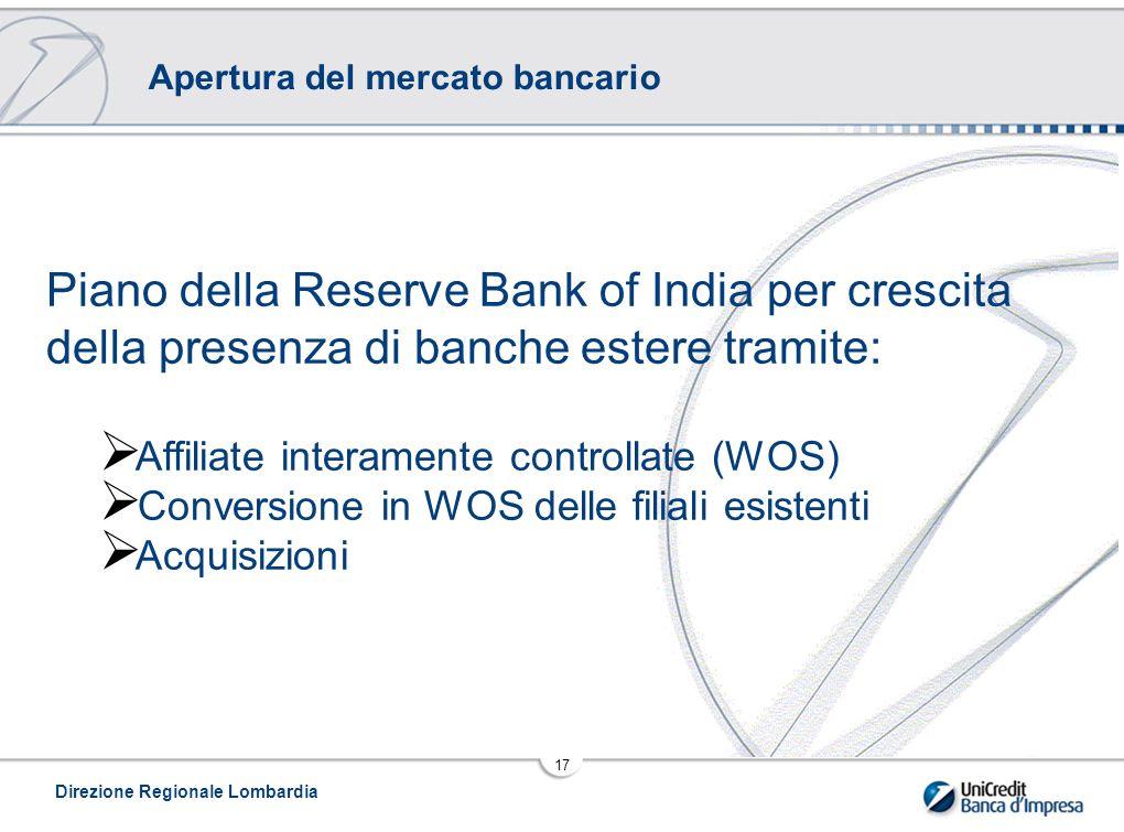 Direzione Regionale Lombardia 17 Apertura del mercato bancario Piano della Reserve Bank of India per crescita della presenza di banche estere tramite:  Affiliate interamente controllate (WOS)  Conversione in WOS delle filiali esistenti  Acquisizioni