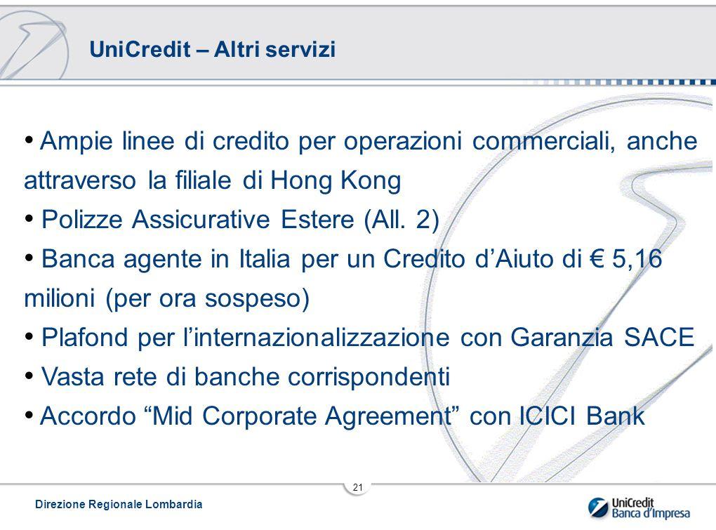 Direzione Regionale Lombardia 21 UniCredit – Altri servizi Ampie linee di credito per operazioni commerciali, anche attraverso la filiale di Hong Kong Polizze Assicurative Estere (All.