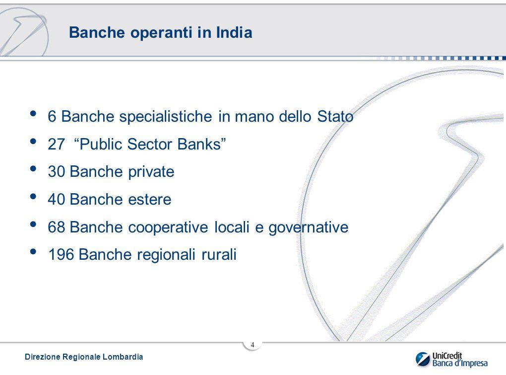 Direzione Regionale Lombardia 4 Banche operanti in India 6 Banche specialistiche in mano dello Stato 27 Public Sector Banks 30 Banche private 40 Banche estere 68 Banche cooperative locali e governative 196 Banche regionali rurali