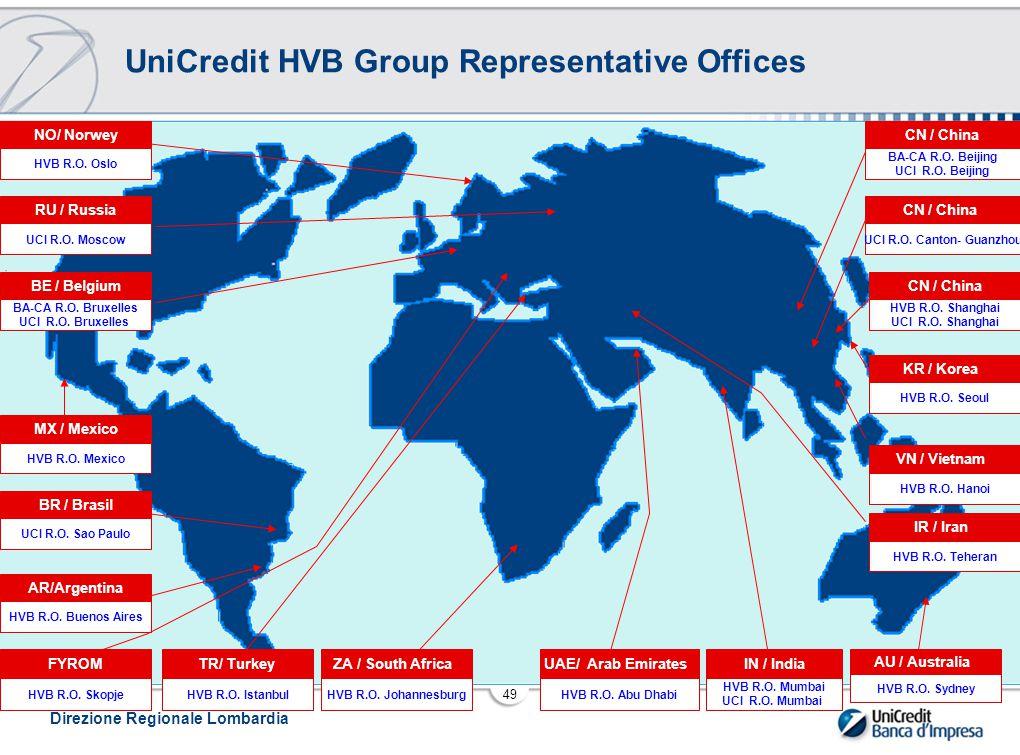Direzione Regionale Lombardia 49 UniCredit HVB Group Representative Offices HVB R.O.