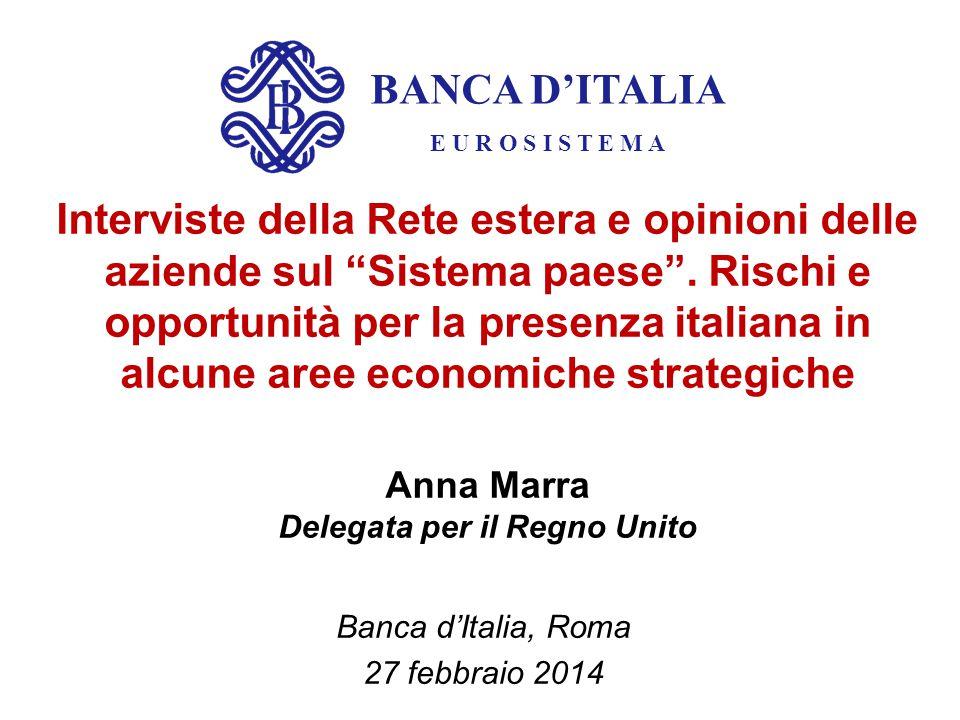 BANCA D'ITALIA E U R O S I S T E M A Interviste della Rete estera e opinioni delle aziende sul Sistema paese .