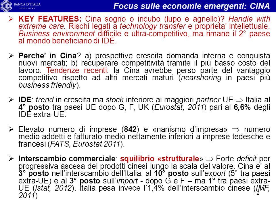 Focus sulle economie emergenti: CINA 12  KEY FEATURES: Cina sogno o incubo (lupo e agnello)? Handle with extreme care. Rischi legati a technology tra