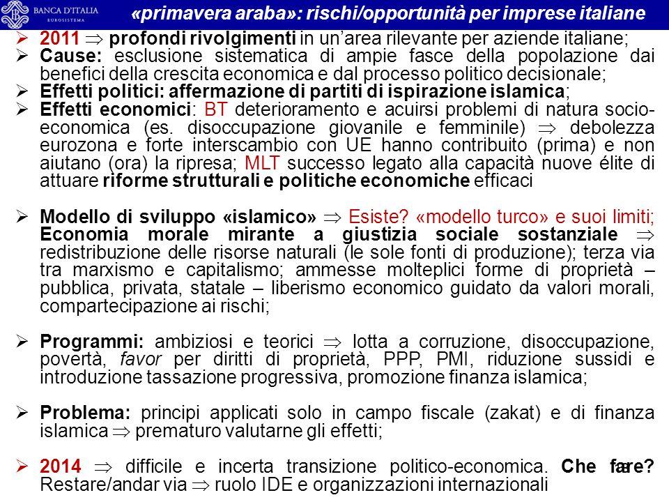 «primavera araba»: rischi/opportunità per imprese italiane  2011  profondi rivolgimenti in un'area rilevante per aziende italiane;  Cause: esclusio