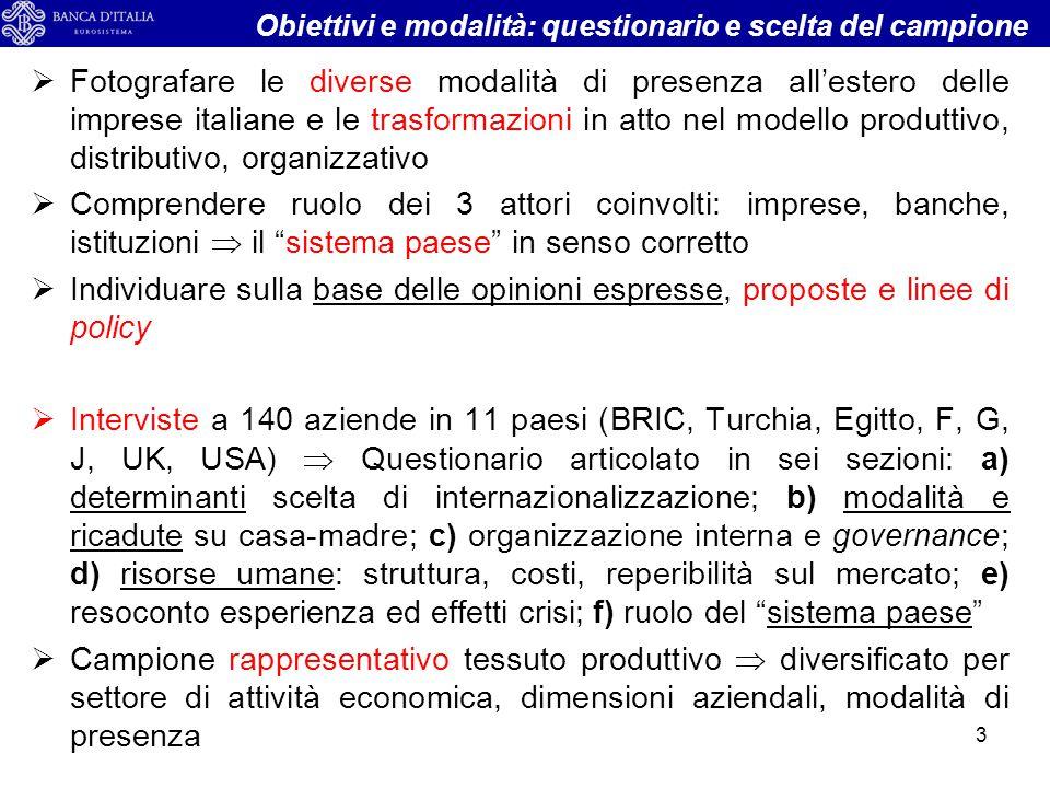  Fotografare le diverse modalità di presenza all'estero delle imprese italiane e le trasformazioni in atto nel modello produttivo, distributivo, orga