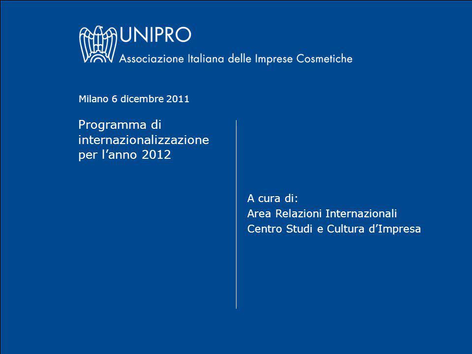 Programma di internazionalizzazione per l'anno 2012 A cura di: Area Relazioni Internazionali Centro Studi e Cultura d'Impresa Milano 6 dicembre 2011