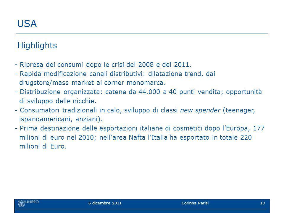 6 dicembre 2011Corinna Parisi13 USA Highlights - Ripresa dei consumi dopo le crisi del 2008 e del 2011.