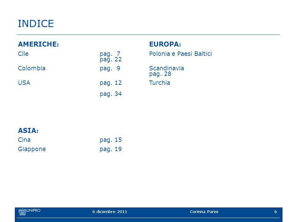6 dicembre 2011Corinna Parisi6 INDICE AMERICHE : EUROPA : Cilepag.