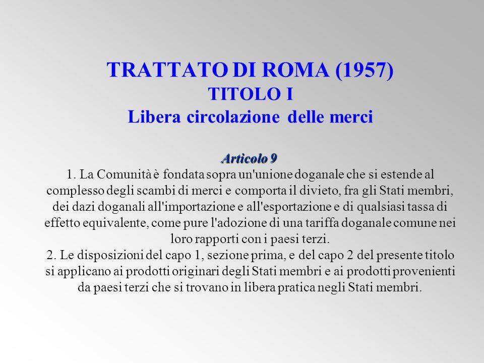 Articolo 9 TRATTATO DI ROMA (1957) TITOLO I Libera circolazione delle merci Articolo 9 1.