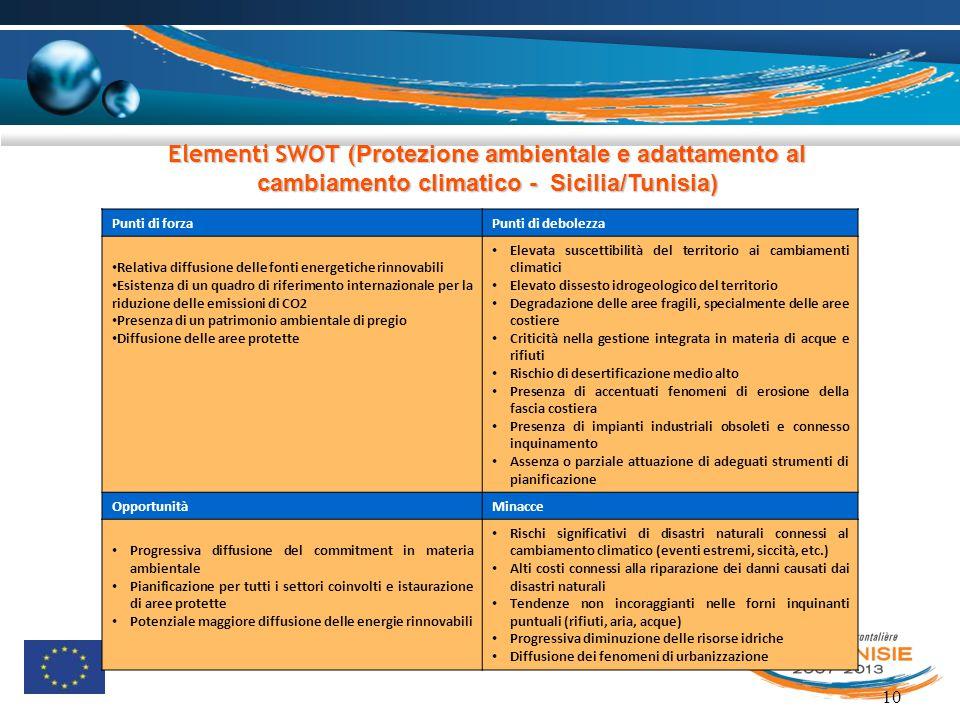 10 Elementi SWOT ( Protezione ambientale e adattamento al cambiamento climatico - Sicilia/Tunisia) Punti di forzaPunti di debolezza Relativa diffusion