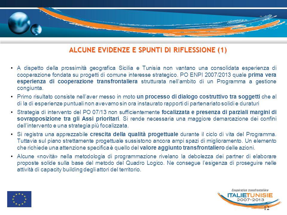 12 A dispetto della prossimità geografica Sicilia e Tunisia non vantano una consolidata esperienza di cooperazione fondata su progetti di comune inter