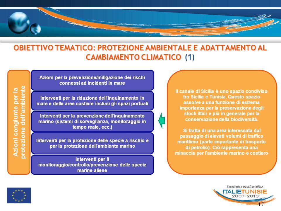 17 OBIETTIVO TEMATICO: PROTEZIONE AMBIENTALE E ADATTAMENTO AL CAMBIAMENTO CLIMATICO OBIETTIVO TEMATICO: PROTEZIONE AMBIENTALE E ADATTAMENTO AL CAMBIAM