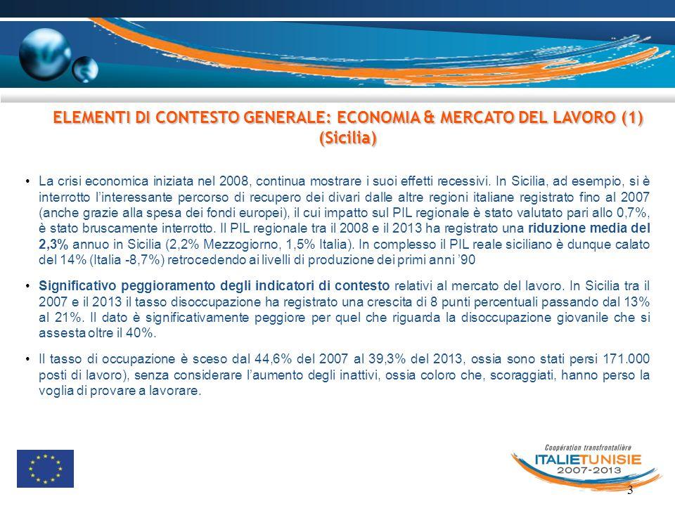 3 ELEMENTI DI CONTESTO GENERALE: ECONOMIA & MERCATO DEL LAVORO (1) (Sicilia) La crisi economica iniziata nel 2008, continua mostrare i suoi effetti re