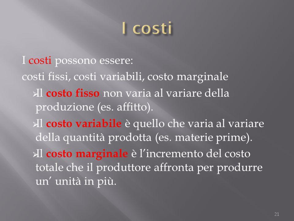 I costi possono essere: costi fissi, costi variabili, costo marginale  Il costo fisso non varia al variare della produzione (es. affitto).  Il costo