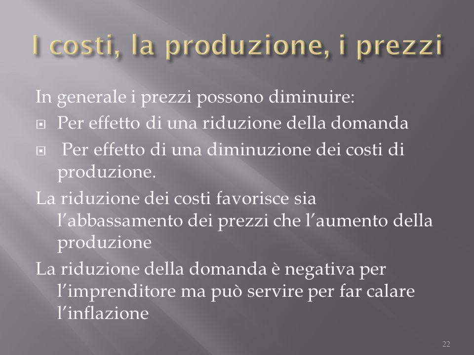 In generale i prezzi possono diminuire:  Per effetto di una riduzione della domanda  Per effetto di una diminuzione dei costi di produzione. La ridu
