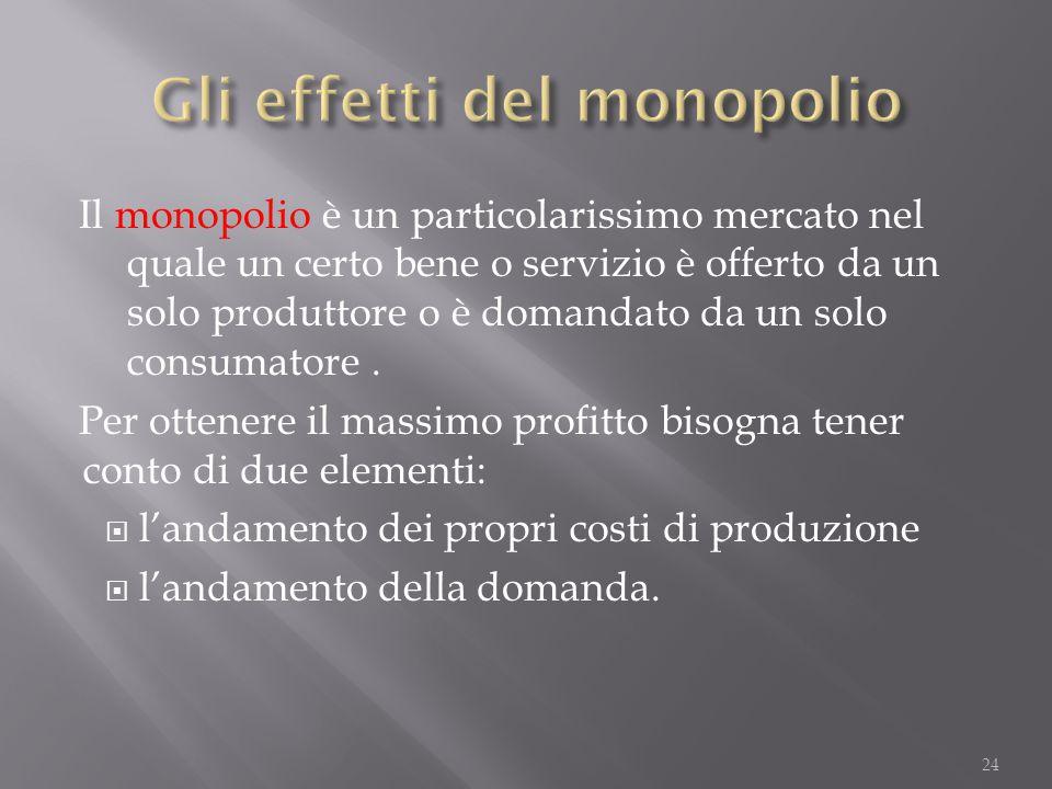 Il monopolio è un particolarissimo mercato nel quale un certo bene o servizio è offerto da un solo produttore o è domandato da un solo consumatore. Pe