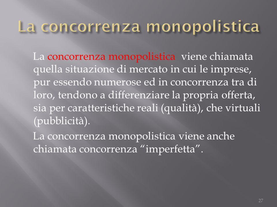 La concorrenza monopolistica viene chiamata quella situazione di mercato in cui le imprese, pur essendo numerose ed in concorrenza tra di loro, tendon