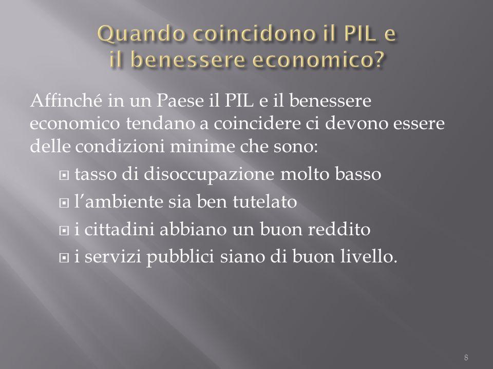 Affinché in un Paese il PIL e il benessere economico tendano a coincidere ci devono essere delle condizioni minime che sono:  tasso di disoccupazione