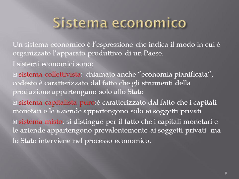 Un sistema economico è l'espressione che indica il modo in cui è organizzato l'apparato produttivo di un Paese. I sistemi economici sono:  sistema co