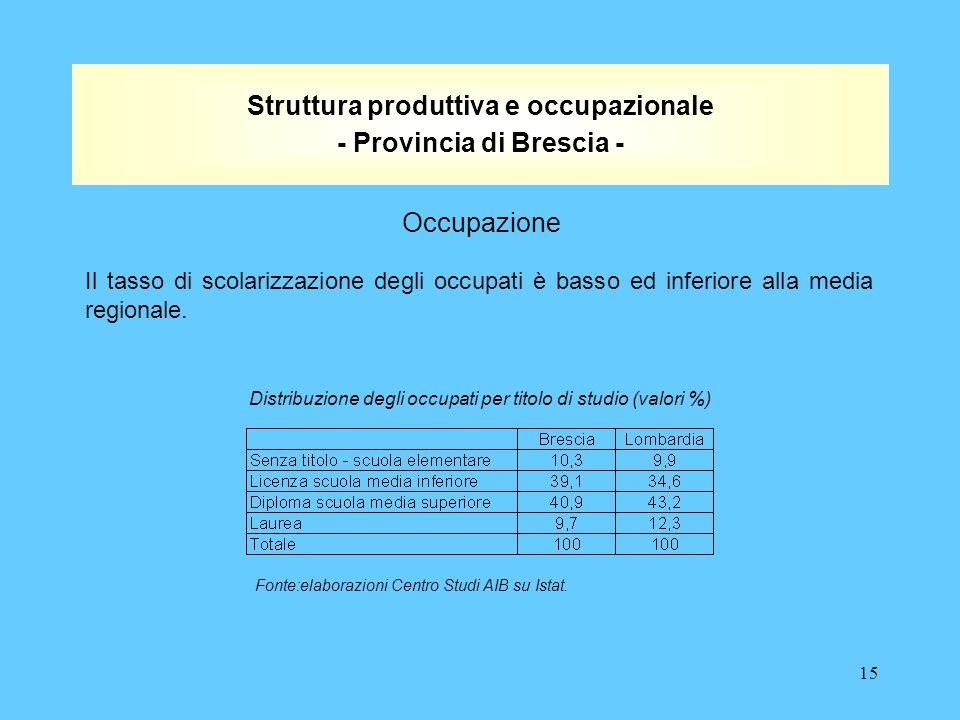 15 Struttura produttiva e occupazionale - Provincia di Brescia - Il tasso di scolarizzazione degli occupati è basso ed inferiore alla media regionale.