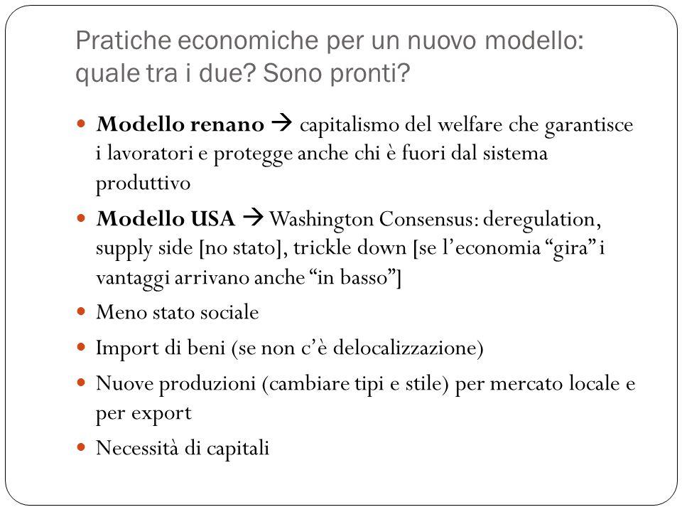 Pratiche economiche per un nuovo modello: quale tra i due? Sono pronti? Modello renano  capitalismo del welfare che garantisce i lavoratori e protegg